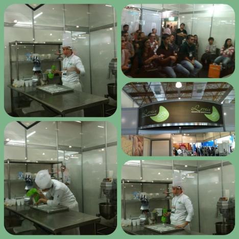 Aula demo de macaron da Chef Confeiteira e Profa. na Levain Paola Biselli.